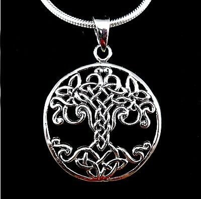 Handcrafted 925 Sterling Silver Celtic Knot Tree of Life Yggdrasil Pendant