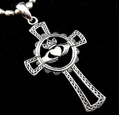 Solid Sterling Silver Celtic Knot Irish CLADDAGH ANKH Cross Pendant PURE 925