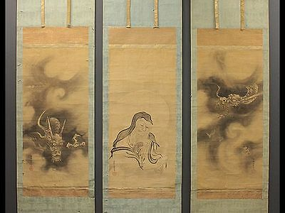 JAPANESE HANGING SCROLL : DOUBLE DRAGON and MONK