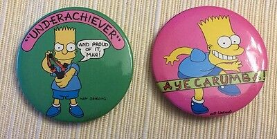 "1989 Vintage Lot of 2 BART SIMPSON 1 3/4"" METAL PIN BUTTONs  Underachiever"