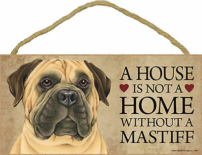 A house is not a home without a Mastiff Wood Bullmastiff Dog Sign Made in USA