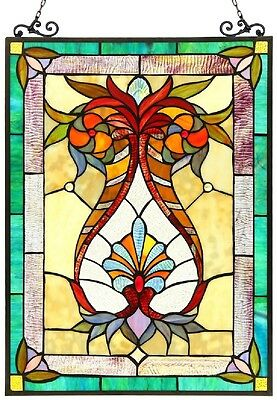 "25"" VIctorian Designer Tiffany Style Stained Glass Window Panel"