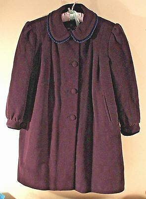 Vintage Navy Wool Childs Dress Winter Coat VARCI Italy