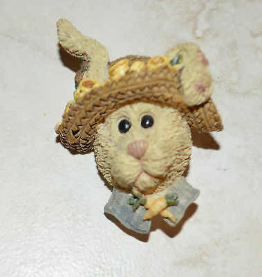 Easter Fun Granny Rabbit in Straw Hat Plastic Pin Brooch