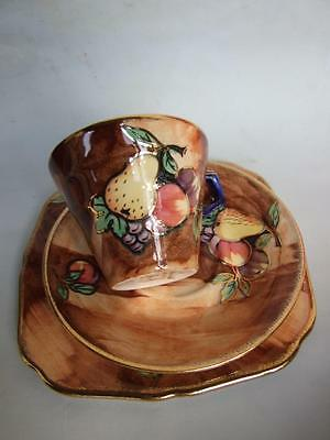 "H & K Tunstall ""Luscious Fruits"" Cup/Saucer/Plate Trio  Signed R. Grocott 1930'S"