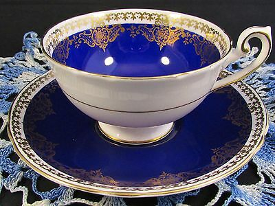 Shelley Cobalt Ornate Gold Designs Lincoln Shape Tea Cup And Saucer