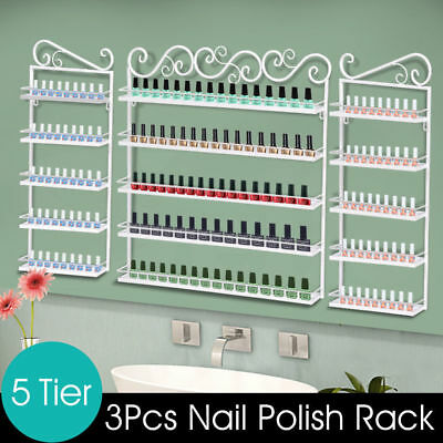 5 Tier Black Nail Polish Display Wall Rack Metal Organizer 3pcs Makeup