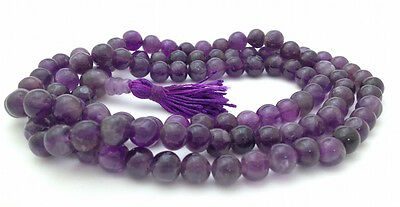 Amethyst 108 Beads Full Mala Necklace for Meditation and Yoga
