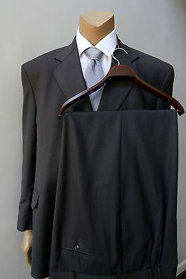 Barry Men's Charcoal Gray Pleated Trousers 2 Piece Wool Classic Suit Size 52L