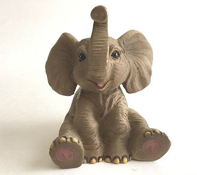 "Lucky Elephant Trunk Up Figurine Gray and Pink Realistic Carving 2.75"" Tall"