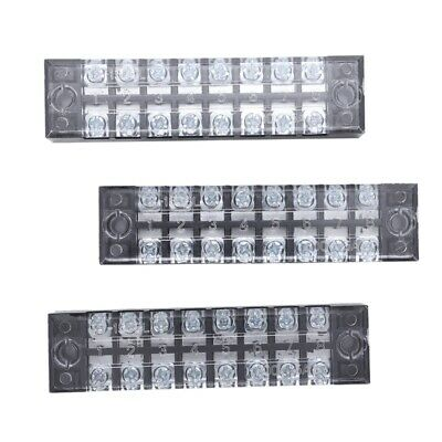 3 Pcs 600V 15A 8 Positions Dual Rows Covered Barrier Screw Terminal Block Strip
