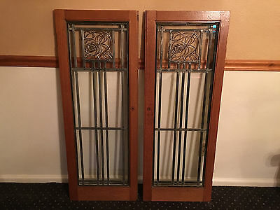 Antique Leaded Glass Oak Cabinet Doors With Brass Inserts