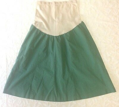 Mimi Maternity Womens LARGE Green Casual Career Wear To Work Skirt