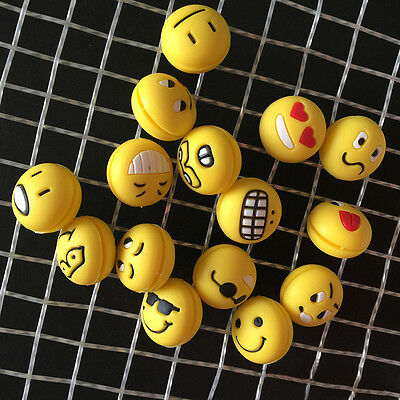 5pcs Funny emoji face Tennis racket Silicone Rubber Shock Absorber