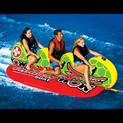 WOW Dragon Boat 3 Person Towable WaterSki Tube Inflatable Biscuit Boat Ride