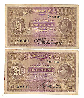 2 x Malta 1 Pound King George BANKNOTE / different signatures