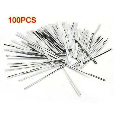 100 Pcs Silver Metallic Twist Ties for Cello Candy Bags Party 8cm