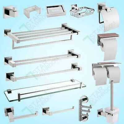 Bathroom Accessories Hand Towel Rail Rack Hook Toilet Brush Paper Holder Chrome