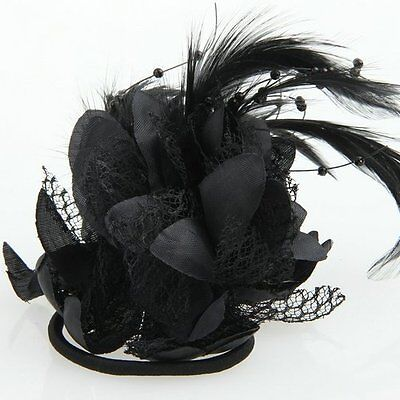 Feather Lace Flower Corsage Hair Band Clip Brooch Pin Cocktail Fascinator