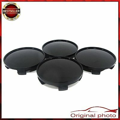 4x ALLOY BLACK WHEEL HUB 68 mm 65 mm CENTRE CAPS UNIVERSAL BMW AUDI OPEL FORD