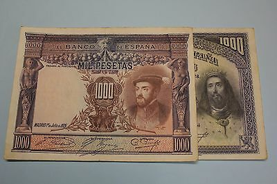 1925 1928 1000 PESETAS LOT 2 BANKNOTE SPAIN PICK#70c - PICK#78 VF MBC