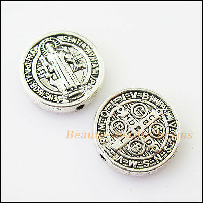 4 New Jesus Cross Round Charms Tibetan Silver Tone Spacer Beads 15mm