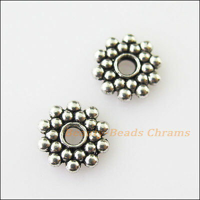 30 New Tiny Flower Charms Tibetan Silver Tone Spacer Beads 8mm