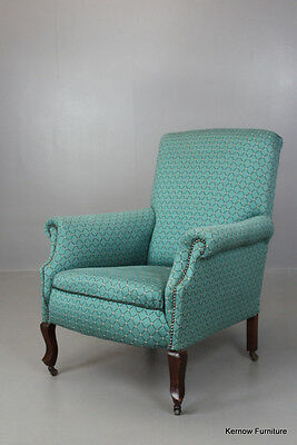Antique Edwardian Green Upholstered Armchair Chair
