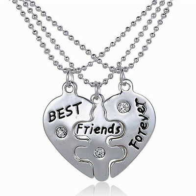 Triple BEST FRIENDS FOREVER Necklace Boho Bohemian Jewellery Gift For Her A044