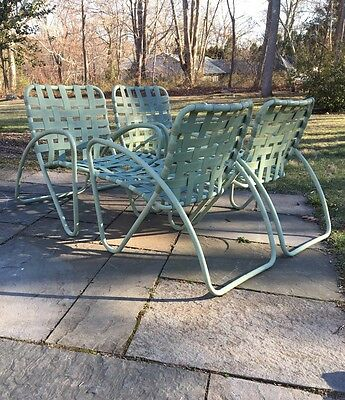 4 Vintage Brown Jordan Patio Chairs Tamiami Era Sage Green Hairpin
