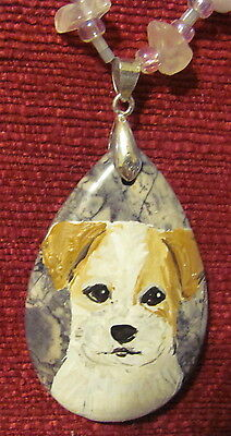 Parson Russell Terrier hand painted on teardrop pendant/bead/necklace