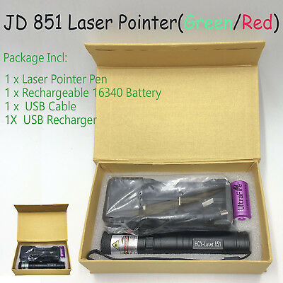 JD851 JD 851 USB CHARGER Red Laser Pointer 1mW 532nm 16340 Rechargeable Focus
