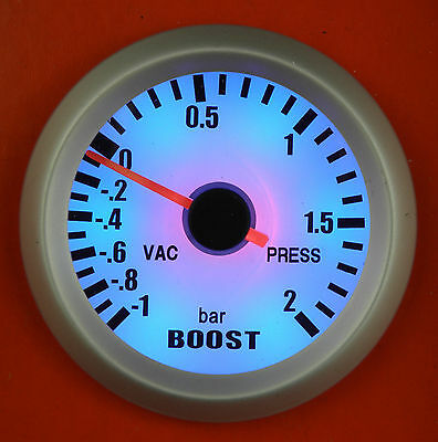 "S4 Universal 52mm 2"" Turbo Boost Gauge/Meter -1 - 2 Bar Pressure blue back-light"