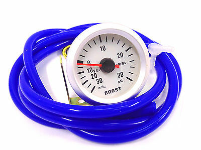 S4 52mm Turbo Boost gauge 30 Psi With Blue Silicone Vw Golf Passat Seat Leon