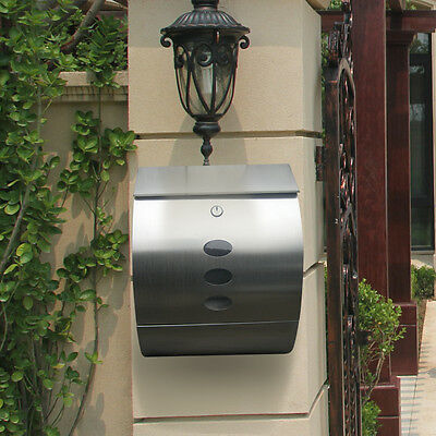 Steel Wall Mounted Lockable Mail Letter Post Box Newspaper Holder Sliver Uk