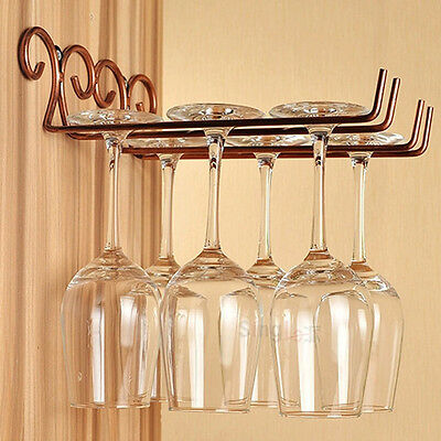 2 Rows Bronze Stainless Steel Wall-Mounted Wine Glass Rack Hanger For Bar Home