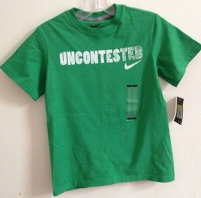 Nwt Boys Size Small Nike Green Cotton Uncontested Short Sleeve T Shirt  $18