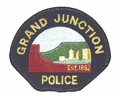 GRAND JUNCTION COLORADO CO Police Sheriff Patch VINTAGE OLD MESH GOLD MYLAR ~