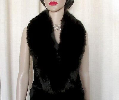 "Vintage  Superbe Black Fluffy  Shawl Fox Fur Collar   42"" X 5"""
