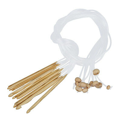 12 Sizes Crochet Needles Bleached Bamboo Afghan Tunisian 3,0-10,0 mm