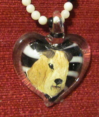 Laleland Terrier hadn painted on on Murano glass heart-shaped pendant/bead/neckl