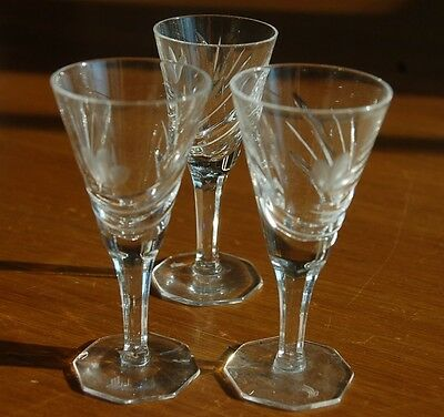 Three Vintage Aperitif cut crystal stemware, 4 inches tall, 2 inches wide