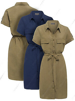 NEW Womens Longline Linen Shirt Dress Ladies Khaki Navy Stone Size 8 10 12 14