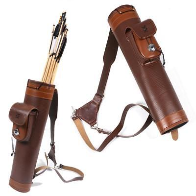 Archery Cow Leather 3 Point Belt Arrow Quiver Case Bag Holder Back Pack Hunting