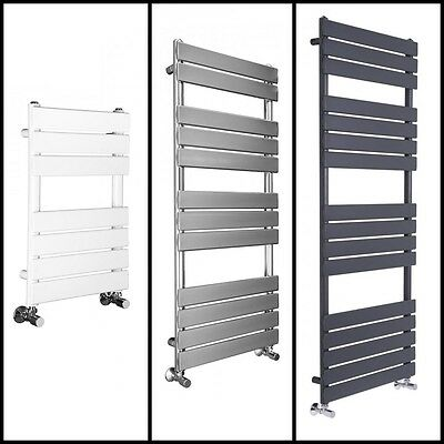 Flat Panel Bathroom Heated Towel Rail Radiator Designer - Chrome, White or Grey