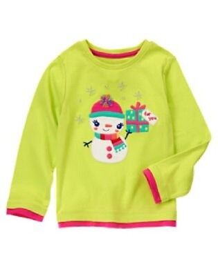 NWT Gymboree Color Happy 2T Bright Green Snowman Gift Shirt Long Sleeve