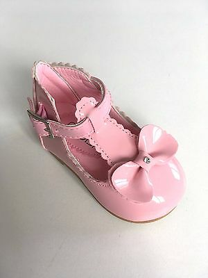 Girls Pink Patent Diamante Bow Kids Baby Party Wedding Christening Shoes Size