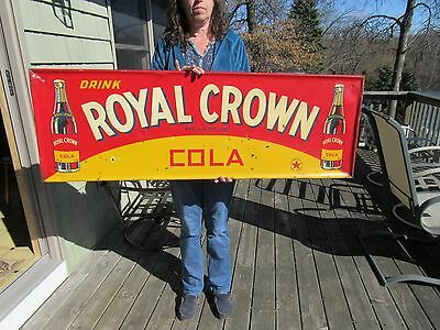 ORIGINAL 1930 - 40's DRINK ROYAL CROWN COLA SIGN EMBOSSED TIN LITHOGRAPH 54 X 18