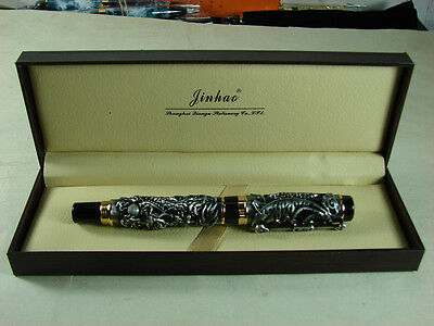 Jinhao Noblest Dragon & Phoenix Fountain Pen , Gray Collection Pen & Gift Box