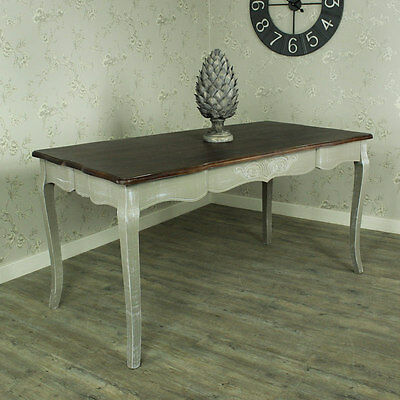 Large grey wash dining table dark wood top shabby French chic country furniture
